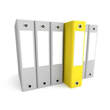 Yellow folder among a set of gray. 3d rendered illustration Stock Illustration - 11960425