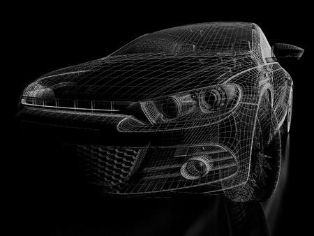 Black car on a black background. 3d image