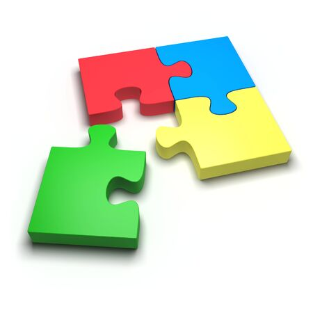 Colored puzzle on a white background. 3d image Stock Photo - 11960546
