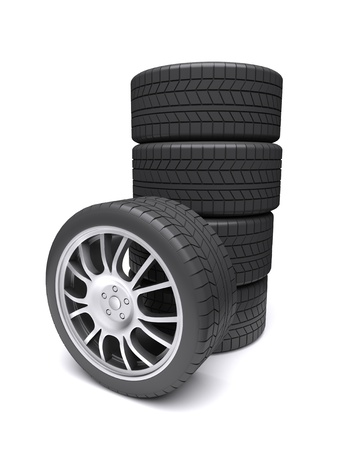 Car wheels on a white background. 3d rendered image photo