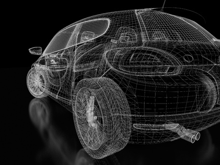 3d car model on  a black background. photo