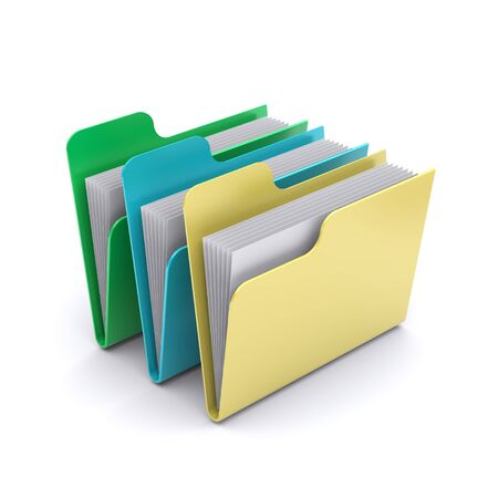 organised group: Data folders on a white background. 3d rendered image
