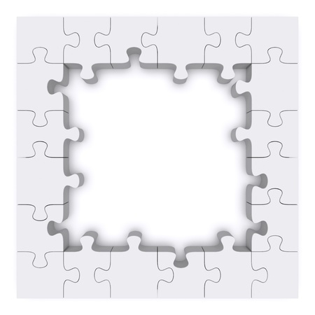 Frame made up of pieces of puzzles. 3d rendered image