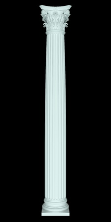 3d Corinthian column on a black background photo
