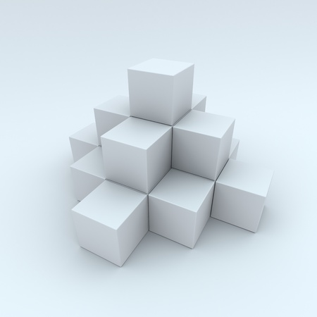 A pyramid made up of white cubes photo