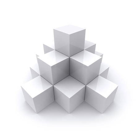 block: A pyramid made up of white cubes