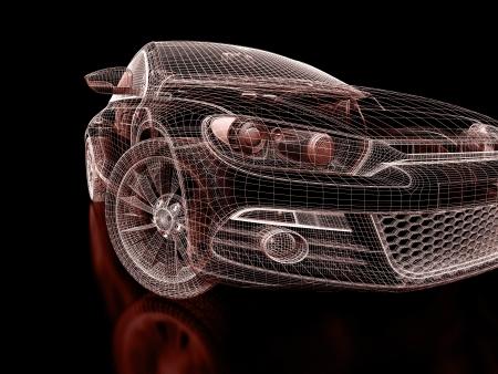 ruedas de coche: Modelo del coche 3d en un fondo negro. Foto de archivo
