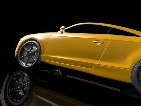 yellow car: Yellow sport car. 3d image