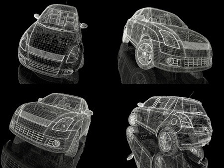 car model: 3d car model on  a black background. Stock Photo