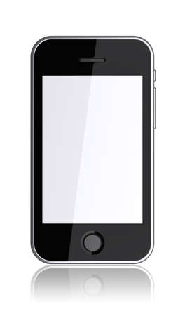 Mobile phone with a blank screen on a white background. 3d image  photo