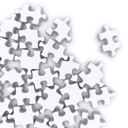 jigsaw puzzle pieces: Jigsaw puzzle on a white background. 3d rendered image