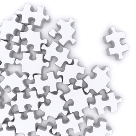 piezas de rompecabezas: Jigsaw rompecabezas sobre un fondo blanco. 3d rindi� la imagen