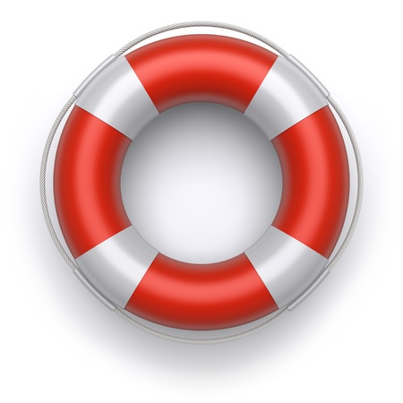 3d lifebuoy on a white background photo