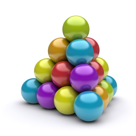 3d pyramid of colored balls Stock Photo - 12464045