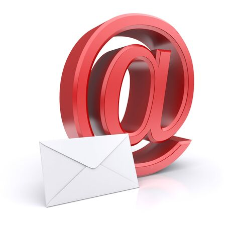 Red e-mail symbol with envelope  3d image photo
