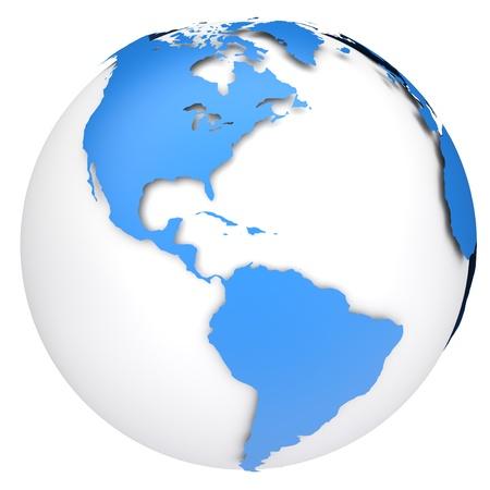 Earth globe kaart Side van de Noord-en Zuid-Amerika Stockfoto