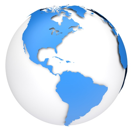 Earth-Globus Karte Side of the Nord-und Südamerika Standard-Bild