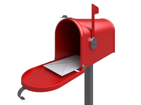 e mail: Red mailbox with letter on a white  3d rendered image
