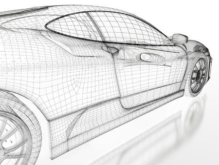 silhouette voiture: Modèle de voiture sport sur un fond blanc image 3d rendu