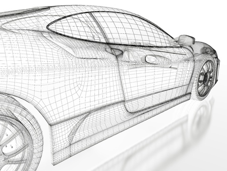 car drawing: Sport car model on a white background  3d rendered image