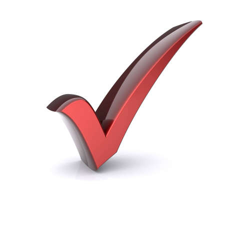 Isolated red check mark  3d image Stock Photo - 12464059