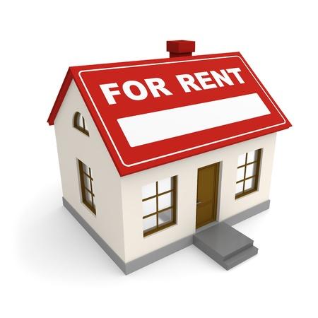 rental house: Casa Alquiler de inmuebles 3d rindi� la imagen Foto de archivo