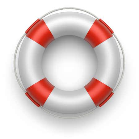 Lifebuoy on a white background  3d image