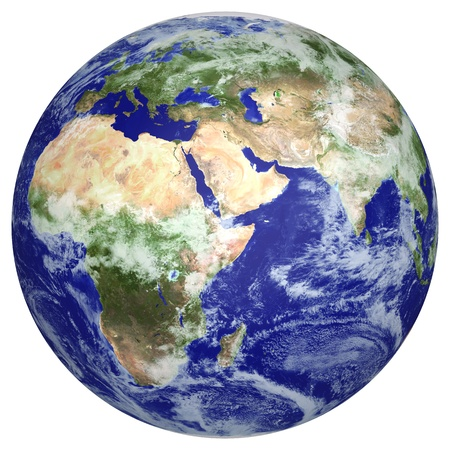 gravity: Earth globe cloud map  side of Africa and Europe  3d image