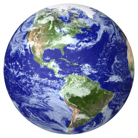 Wereldbol wolk kaart kant van de Noord-en Zuid-Amerika