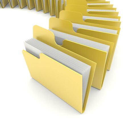 reports: Folders on a white  3d image Stock Photo