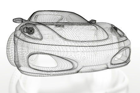 Sport car model on a white background  3d rendered image