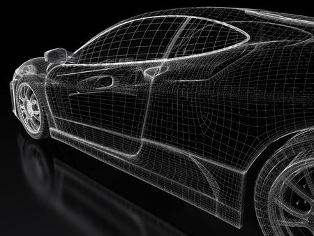 Sport car model on a black background  3d rendered image