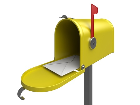 Yellow mailbox with letter on a white  3d rendered image photo