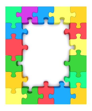 Beautiful frame made   up of pieces of colored jigsaw puzzle  3d rendered image