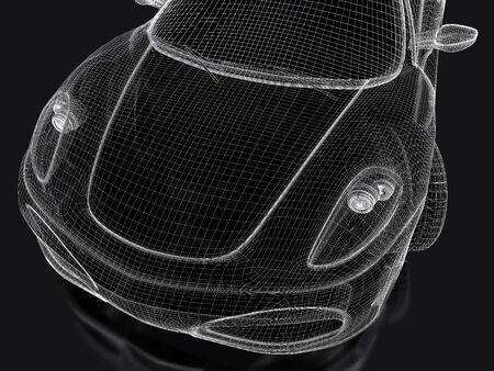 Sport car model on a black background  3d rendered image photo