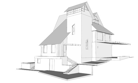 Architecture sketch of a house photo