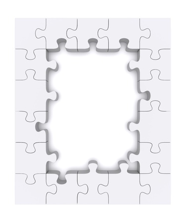 puzzle shape: Frame made   up of pieces of puzzles  3d rendered image