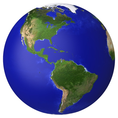 the americas: Earth planet globe map  Side of the North and South America  The Earth texture of this image furnished by NASA   http   visibleearth nasa gov view_rec php id=2430