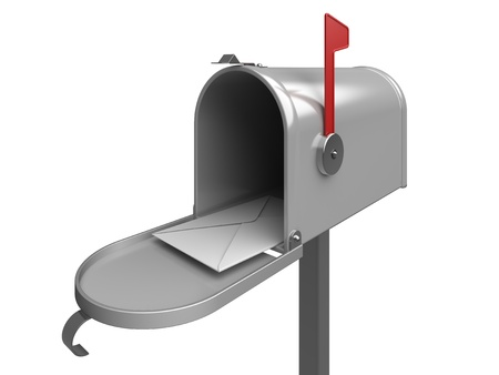 Mailbox with letter envelope  3d rendered image