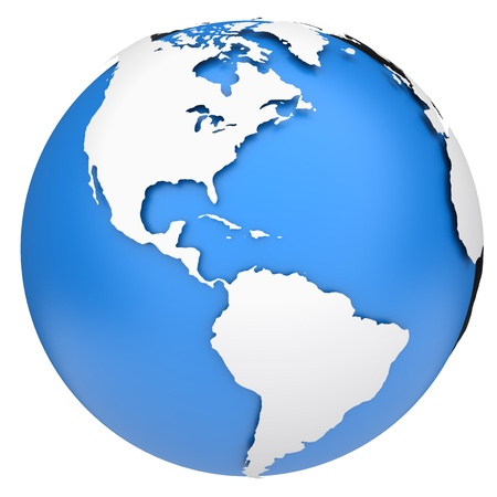 globe map: Earth globe map  Side of the North and South America