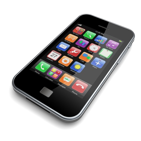 mobile phone icon: Mobile phone with touchscreen  3d image