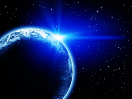 Space sunrise above the Earth planet Stock Photo