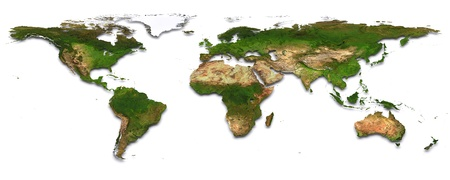 World map with topography  3d image   photo