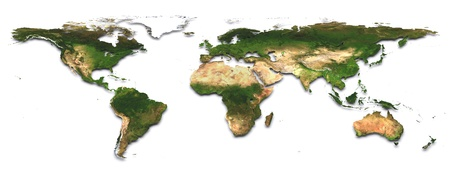 World map  3d image  The Earth texture of this image furnished by NASA   http   visibleearth nasa gov view_rec php id=2430
