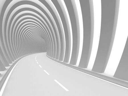 road tunnel: Abstract road tunnel  3d rendered image Stock Photo
