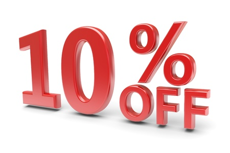 selling off: 10 percent sale discount  3d image Stock Photo