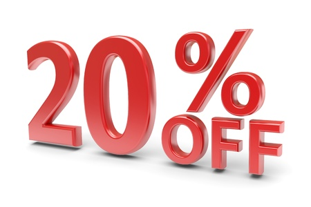 selling off: 20 percent sale discount  3d image