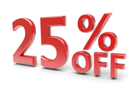 selling off: 25 percent sale discount  3d image Stock Photo