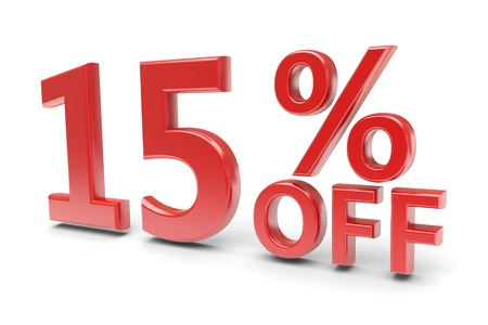 15 percent sale discount  3d image photo