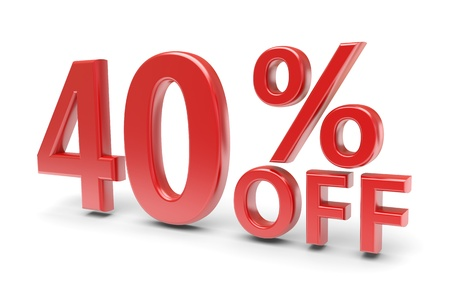 selling off: 40 percent sale discount  3d image